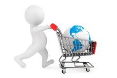 pessoa 3d com o globo do carrinho de compras e da terra Fotografia de Stock Royalty Free