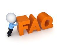 pessoa 3d pequena e palavra FAQ. Foto de Stock Royalty Free