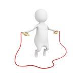 pessoa 3d pequena que salta através de uma corda de salto Foto de Stock