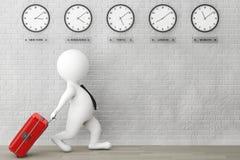 a pessoa 3d que corre com uma mala de viagem na frente do fuso horário cronometra Imagens de Stock Royalty Free
