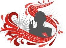 Pessoa da silhueta nos fones de ouvido Fotografia de Stock Royalty Free