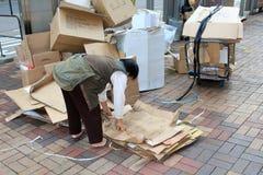 Pessoa de Ragpicker em Hong Kong Fotografia de Stock Royalty Free