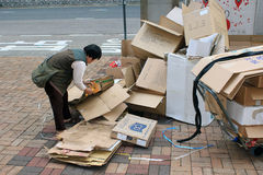 Pessoa de Ragpicker em Hong Kong Foto de Stock Royalty Free