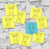 A pessoa deprimida triste está sozinho - notas pegajosas Fotografia de Stock