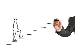 Pessoa do desenho do homem de negócios que anda acima das etapas Fotos de Stock Royalty Free