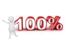 pessoa do homem 3d e sinal de por cento 100% Imagens de Stock Royalty Free