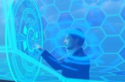 Pessoa do negócio na realidade virtual ilustração do vetor
