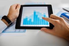 Pessoa do negócio que analisa as estatísticas financeiras indicadas na tela da tabuleta Imagem de Stock Royalty Free