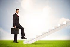 Pessoa do negócio que escala acima na escadaria branca na natureza Imagem de Stock Royalty Free