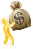 Pessoa do ouro do saco do dinheiro do dólar Fotografia de Stock Royalty Free