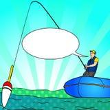 Pessoa dobrando do pop art com haste em um barco na silhueta calma da água do lago Bolha do texto Livro de Fisher Image Comic ilustração do vetor