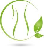 Pessoa e folhas, planta, bem-estar e logotipo fêmea do doutor ilustração do vetor