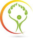 Pessoa e folhas, planta, bem-estar e logotipo naturopathic ilustração stock