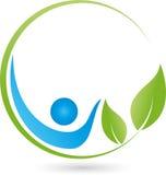 Pessoa e folhas, planta, bem-estar e logotipo naturopathic ilustração royalty free