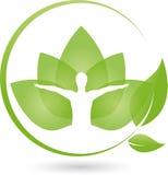 Pessoa e terapeuta Logo das folhas, da aptidão e da alternativa ilustração do vetor
