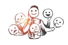 Pessoa, emoções, máscara, cara, conceito do humor Vetor isolado tirado mão ilustração royalty free