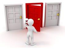 A pessoa escolhe a porta Fotografia de Stock Royalty Free