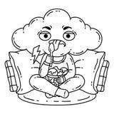 A pessoa frustrante, má do humor come o gelado ilustração royalty free