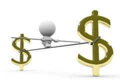 Pessoa humana de passeio da corda-bamba em um fio entre sinais de dólar dourados enormes Foto de Stock Royalty Free
