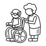 Pessoa idosa no fundo do conceito da cadeira de roda, estilo do esboço ilustração royalty free