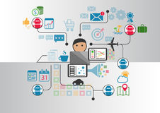 A pessoa na frente do caderno que se comunica com o chatbot múltiplo presta serviços de manutenção enviando mensagens através do  Fotografia de Stock