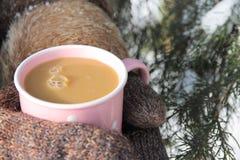 Pessoa nos mitenes que guardam um copo do cappuccino Fotos de Stock