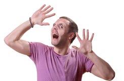 Pessoa prendida atrás de um vidro imagem de stock