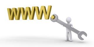 Pessoa que ajuda a reparar o Internet Fotos de Stock Royalty Free