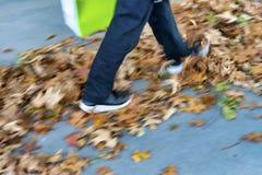 Pessoa que anda nas folhas de outono foto de stock royalty free