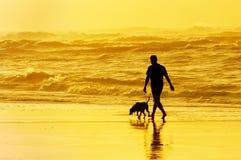 Pessoa que anda o cão na praia Imagens de Stock Royalty Free