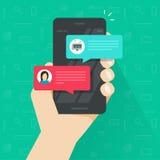 Pessoa que conversa com chatbot no vetor do telefone celular, smartphone liso com discussão do bot do bate-papo, telefone celular ilustração stock