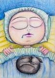 Pessoa que dorme com o desenho dos desenhos animados do gato Imagens de Stock