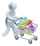 Pessoa que empurra o trole com livros Imagem de Stock Royalty Free