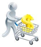 Pessoa que empurra o trole com sinal de dólar Imagens de Stock Royalty Free