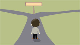 Pessoa que enfrenta uma estrada em dois sentidos Fotos de Stock