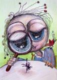 Pessoa que olha o desenho dos desenhos animados da aranha Fotos de Stock Royalty Free