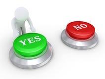 Pessoa que pressiona o botão do yes Imagem de Stock
