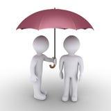 Pessoa que protege com guarda-chuva outro Imagens de Stock Royalty Free