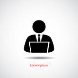 Pessoa que usa o computador, projeto liso do ícone Imagens de Stock Royalty Free