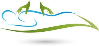 Pessoa, ser humano e dois logotipos das mãos, da massagem e da ortopedia ilustração stock