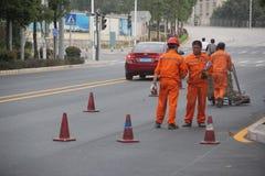 Pessoais da construção de estradas Fotografia de Stock Royalty Free
