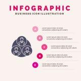 Pessoal, grupo, clone, fundo contínuo da apresentação das etapas de Infographics 5 do ícone do círculo ilustração royalty free