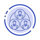Pessoal, grupo, clone, linha pontilhada azul linha ícone do círculo ilustração stock