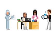 Pessoal indiano e árabe do negócio no escritório ilustração royalty free