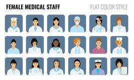 Pessoal médico fêmea - ícones dos povos Grupo de doutores das mulheres ilustração stock