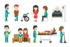 Pessoal médico liso, isolado no fundo branco, doutor, enfermeira, cuidado, ilustração do vetor dos povos, editável gráfico para Fotos de Stock Royalty Free