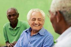Grupo de homens pretos e caucasianos idosos que falam no parque fotos de stock