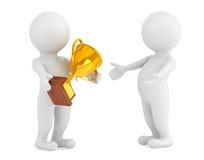 pessoas 3d com um troféu do ouro nas mãos Imagens de Stock Royalty Free