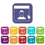 Pessoas designadas do cursor nos ícones do monitor ajustados ilustração do vetor