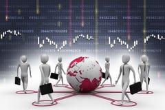Pessoas do homem de negócios com terra do globo Fotografia de Stock